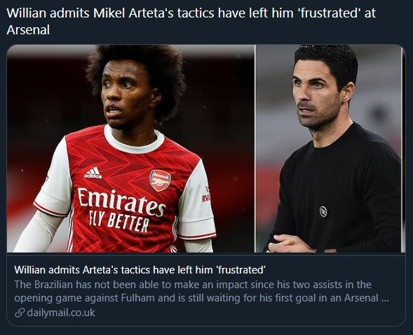 Misleading tweet and headline from the Daily Mail on Willian