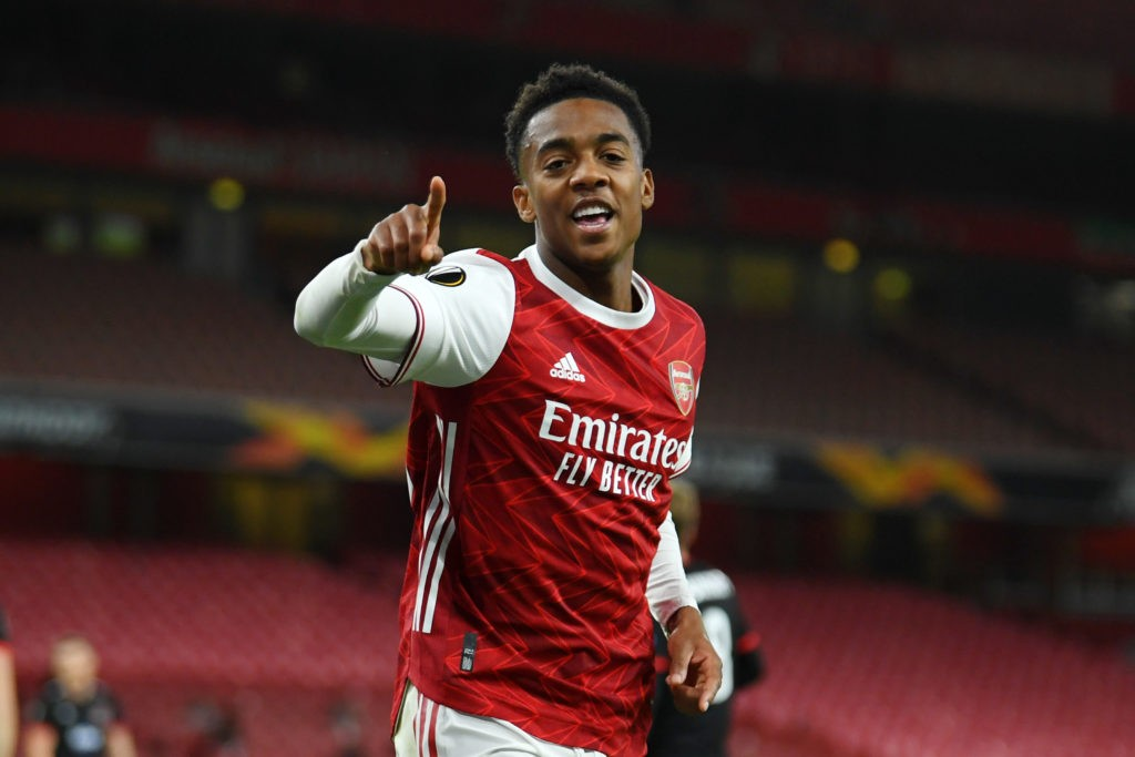 LONDON, ENGLAND: Joe Willock of Arsenal celebrates after scoring his team's second goal during the UEFA Europa League Group B stage match between Arsenal FC and Dundalk FC at Emirates Stadium on October 29, 2020. (Photo by Mike Hewitt/Getty Images)