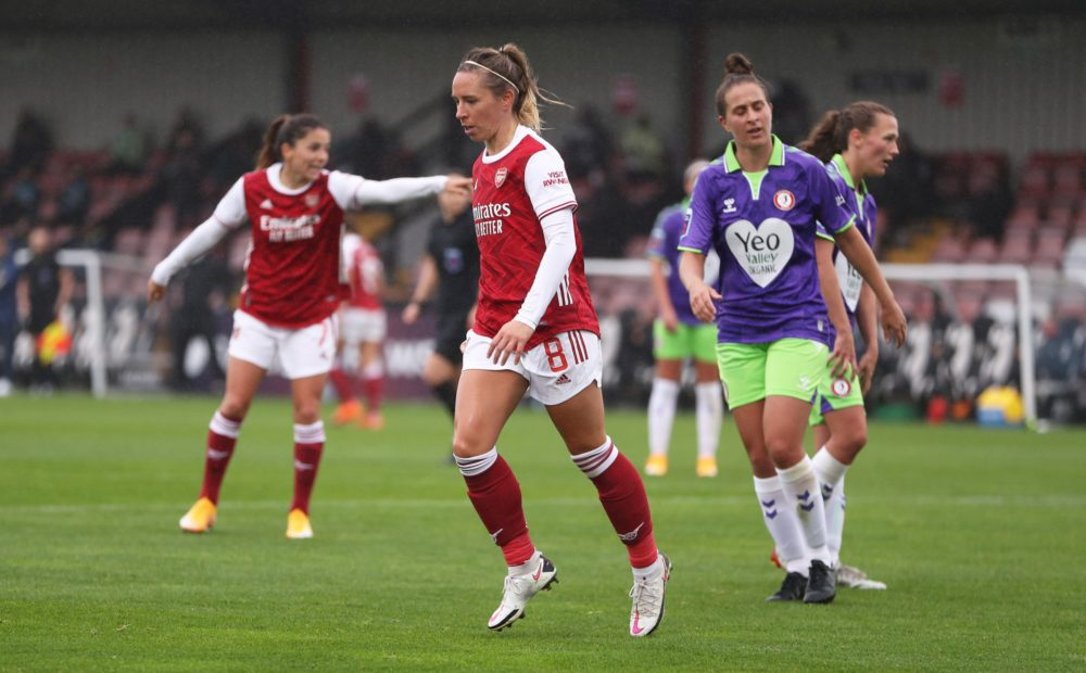 BOREHAMWOOD, ENGLAND - OCTOBER 04: Jordan Nobbs of Arsenal FC celebrates after scoring her sides first goal during the Barclays FA Women's Super League match between Arsenal and Bristol City at Meadow Park on October 04, 2020 in Borehamwood, England. Sporting stadiums around the UK remain under strict restrictions due to the Coronavirus Pandemic as Government social distancing laws prohibit fans inside venues resulting in games being played behind closed doors. (Photo by Kate McShane/Getty Images)