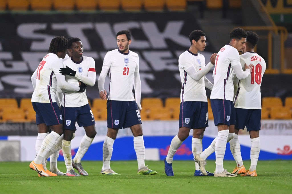 WOLVERHAMPTON, ENGLAND - OCTOBER 13: Eddie Nketiah of England celebrates with team mates after making it 2-0 during the UEFA Euro Under 21 Qualifier match between England U21 and Turkey U21 at Molineux on October 13, 2020 in Wolverhampton, England. Sporting stadiums around the UK remain under strict restrictions due to the Coronavirus Pandemic as Government social distancing laws prohibit fans inside venues resulting in games being played behind closed doors. (Photo by Laurence Griffiths/Getty Images)