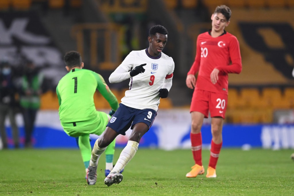 WOLVERHAMPTON, ENGLAND - OCTOBER 13: Eddie Nketiah of England celebrates scoring to make it 2-0 during the UEFA Euro Under 21 Qualifier match between England U21 and Turkey U21 at Molineux on October 13, 2020 in Wolverhampton, England. Sporting stadiums around the UK remain under strict restrictions due to the Coronavirus Pandemic as Government social distancing laws prohibit fans inside venues resulting in games being played behind closed doors. (Photo by Laurence Griffiths/Getty Images)