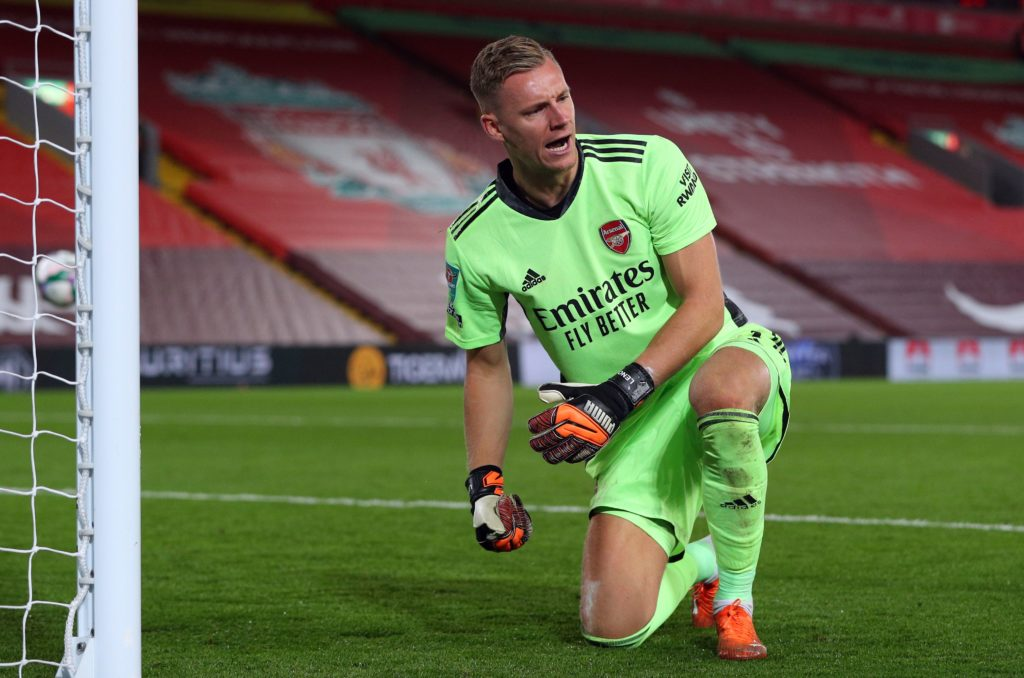 Arsenal's German goalkeeper Bernd Leno celebrates saving a penalty during the English League Cup fourth round football match between Liverpool and Arsenal at Anfield in Liverpool, north west England on October 1, 2020. (Photo by PETER BYRNE/AFP via Getty Images)