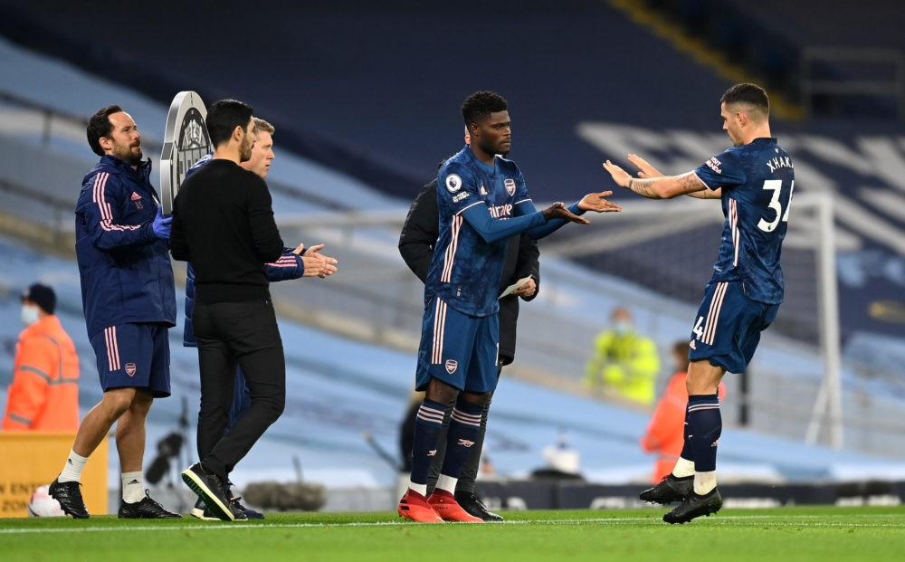 Thomas Partey Yellow cards: MANCHESTER, ENGLAND - OCTOBER 17: Thomas Partey of Arsenal is substituted on for Granit Xhaka of Arsenal during the Premier League match between Manchester City and Arsenal at Etihad Stadium on October 17, 2020 in Manchester, England. Sporting stadiums around the UK remain under strict restrictions due to the Coronavirus Pandemic as Government social distancing laws prohibit fans inside venues resulting in games being played behind closed doors. (Photo by Michael Regan/Getty Images)