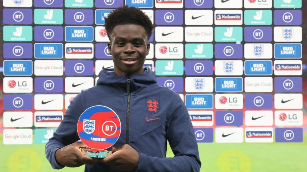 Bukayo Saka with the Player of the Match award (Photo via England on Twitter)
