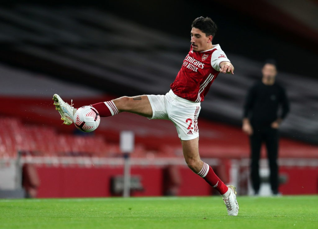 LONDON, ENGLAND: Hector Bellerin of Arsenal during the Premier League match between Arsenal and Leicester City at Emirates Stadium on October 25, 2020. (Photo by Catherine Ivill/Getty Images)