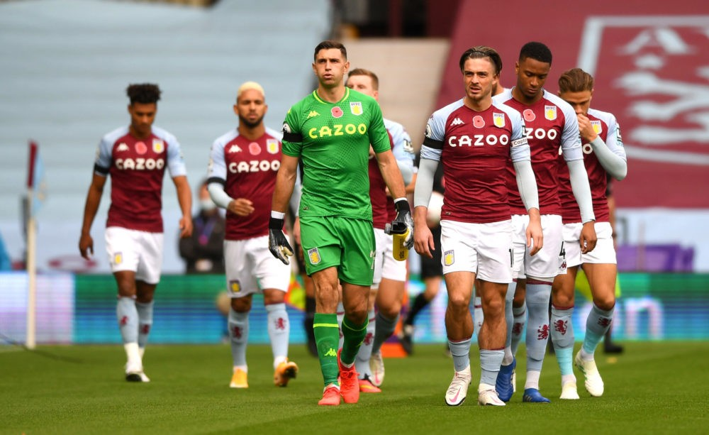 BIRMINGHAM, ENGLAND - NOVEMBER 01: Jack Grealish of Aston Villa leads his team out prior to the Premier League match between Aston Villa and Southampton at Villa Park on November 01, 2020 in Birmingham, England. Sporting stadiums around the UK remain under strict restrictions due to the Coronavirus Pandemic as Government social distancing laws prohibit fans inside venues resulting in games being played behind closed doors. (Photo by Gareth Copley/Getty Images)