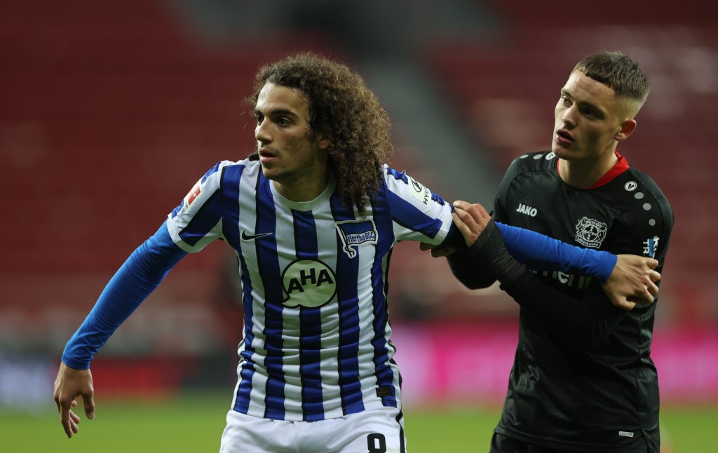 LEVERKUSEN, GERMANY: Matteo Guendouzi of Berlin is seen with Florian Wirtz of Leverkusen during the Bundesliga match between Bayer 04 Leverkusen and Hertha BSC at BayArena on November 29, 2020. (Photo by Lars Baron/Getty Images)