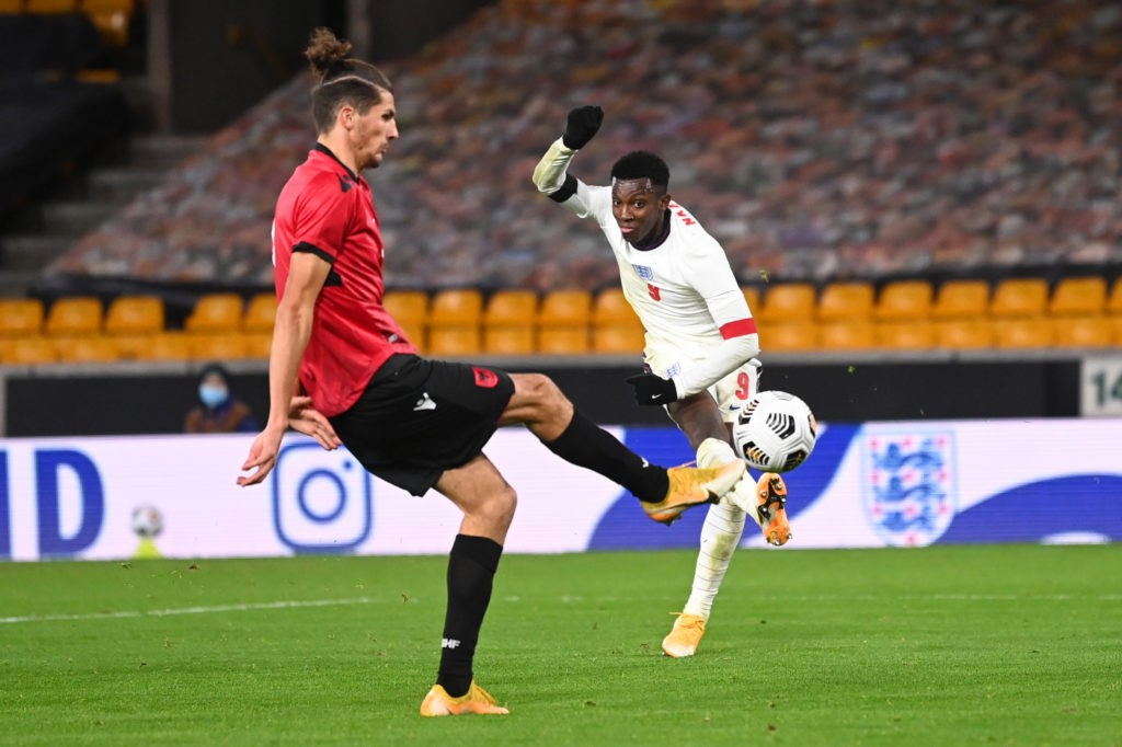 WOLVERHAMPTON, ENGLAND: Eddie Nketiah of England scores their team's fifth goal during the UEFA Euro Under 21 Qualifier match between England U21 and Albania U21 at Molineux on November 17, 2020. (Photo by Laurence Griffiths/Getty Images)