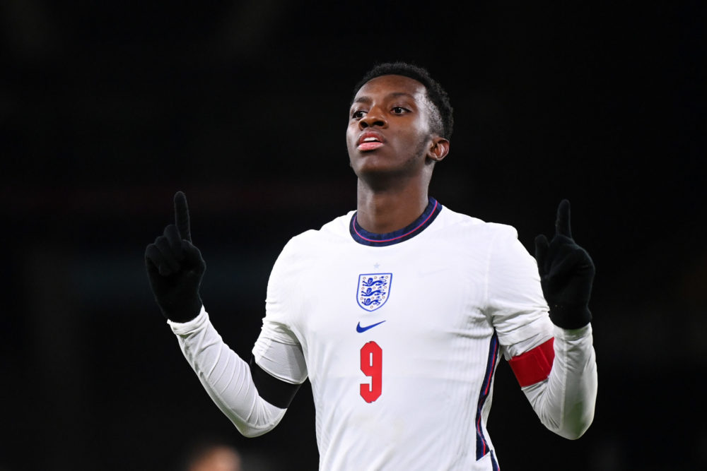 WOLVERHAMPTON, ENGLAND: Eddie Nketiah of England celebrates after scoring their team's fourth goal during the UEFA Euro Under 21 Qualifier match between England U21 and Albania U21 at Molineux on November 17, 2020. (Photo by Laurence Griffiths/Getty Images)