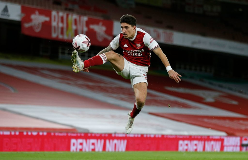 Arsenal's Spanish defender Hector Bellerin controls the ball during the English Premier League football match between Arsenal and Leicester City at the Emirates Stadium in London on October 25, 2020. (Photo by IAN KINGTON/IKIMAGES/AFP via Getty Images)