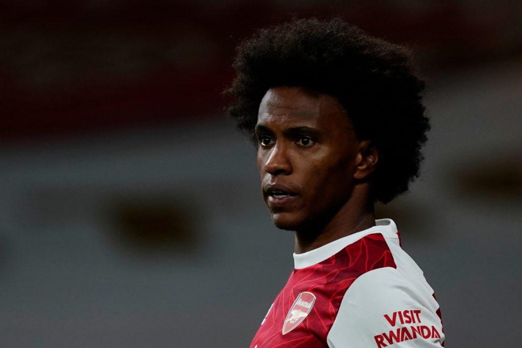 Arsenal's Brazilian midfielder Willian reacts during the English Premier League football match between Arsenal and West Ham United at the Emirates Stadium in London on September 19, 2020. (Photo by Will Oliver / POOL / AFP)
