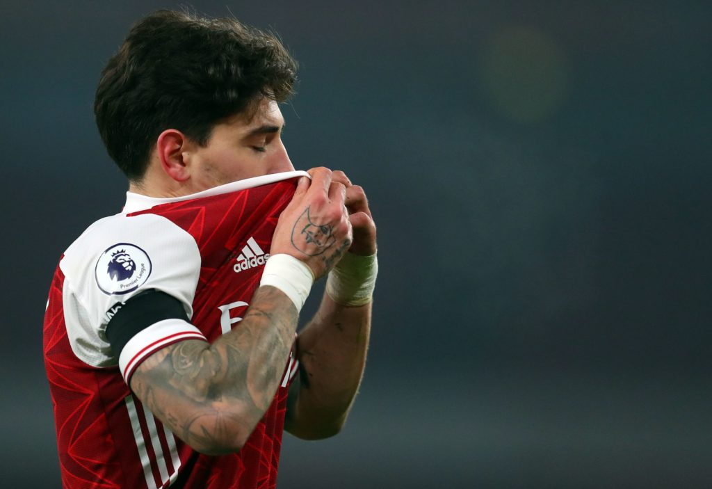 Arsenal's Spanish defender Hector Bellerin during the English Premier League football match between Arsenal and Wolverhampton Wanderers at the Emirates Stadium in London on November 29, 2020. (Photo by Catherine Ivill / POOL / AFP)