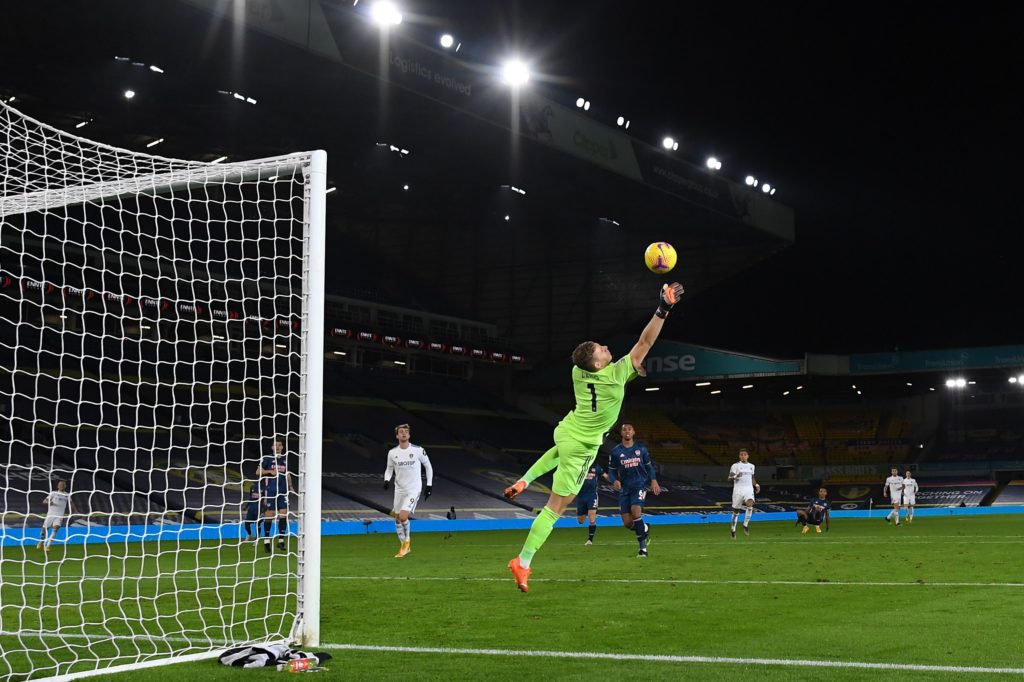 Arsenal's German goalkeeper Bernd Leno makes a save during the English Premier League football match between Leeds United and Arsenal at Elland Road in Leeds, northern England on November 22, 2020. (Photo by Michael Regan / POOL / AFP)