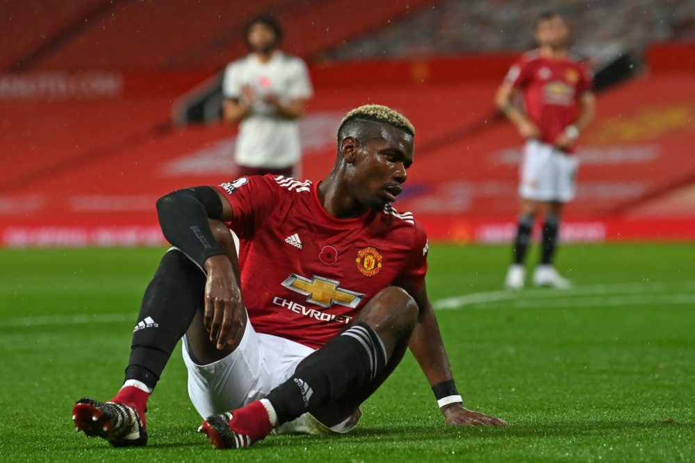 Manchester United's French midfielder Paul Pogba reacts after giving away a penalty during the English Premier League football match between Manchester United and Arsenal at Old Trafford in Manchester, north west England, on November 1, 2020. (Photo by Paul ELLIS / POOL / AFP)