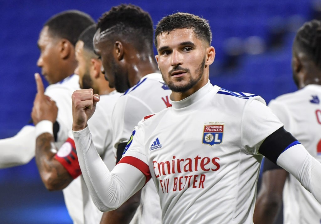Lyon's forward Houssem Aouar celebrates after scoring a goal from the penalty-kick during the French L1 football match between Olympique Lyonnais (OL) and AS Monaco at the Groupama stadium in Decines-Charpieu, near Lyon, south-eastern France, on October 25, 2020. (Photo by PHILIPPE DESMAZES / AFP)