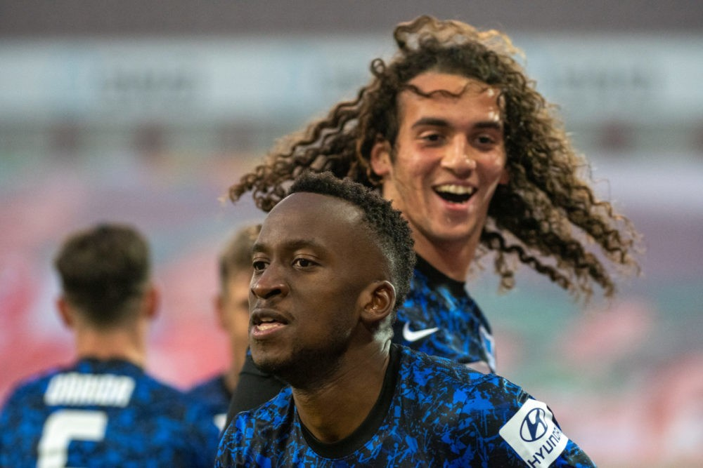 AUGSBURG, GERMANY: Herthas Dodi Lukebakio (v) und Matteo Guendouzi celebrate during the Bundesliga match between FC Augsburg and Hertha BSC at WWK-Arena on November 7, 2020. (Photo by Stefan Puchner - Pool/Getty Images)