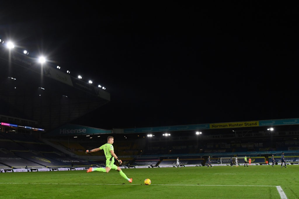 LEEDS, ENGLAND: Bernd Leno of Arsenal in action during the Premier League match between Leeds United and Arsenal at Elland Road on November 22, 2020. (Photo by Michael Regan/Getty Images)