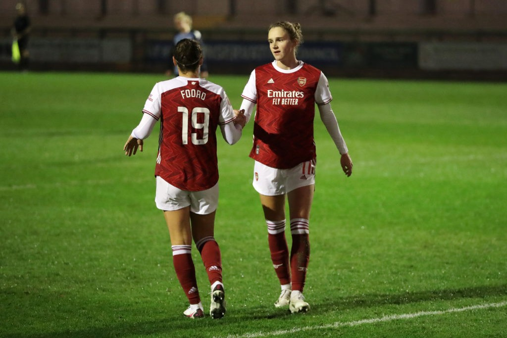 DARTFORD, ENGLAND - NOVEMBER 04: Vivanne Miedema of Arsenal FC celebrates after scoring his team's third goal during the FA Women's Continental League Cup Group B match between London City Lionesses and Arsenal FC at Princes Park on November 04, 2020 in Dartford, England. Sporting stadiums around United Kingdom remain under strict restrictions due to the Coronavirus Pandemic as Government social distancing laws prohibit fans inside venues resulting in games being played behind closed doors. (Photo by James Chance/Getty Images)