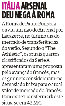 Alexandre Lacazette and Roma: O Jogo, 14 November 2020