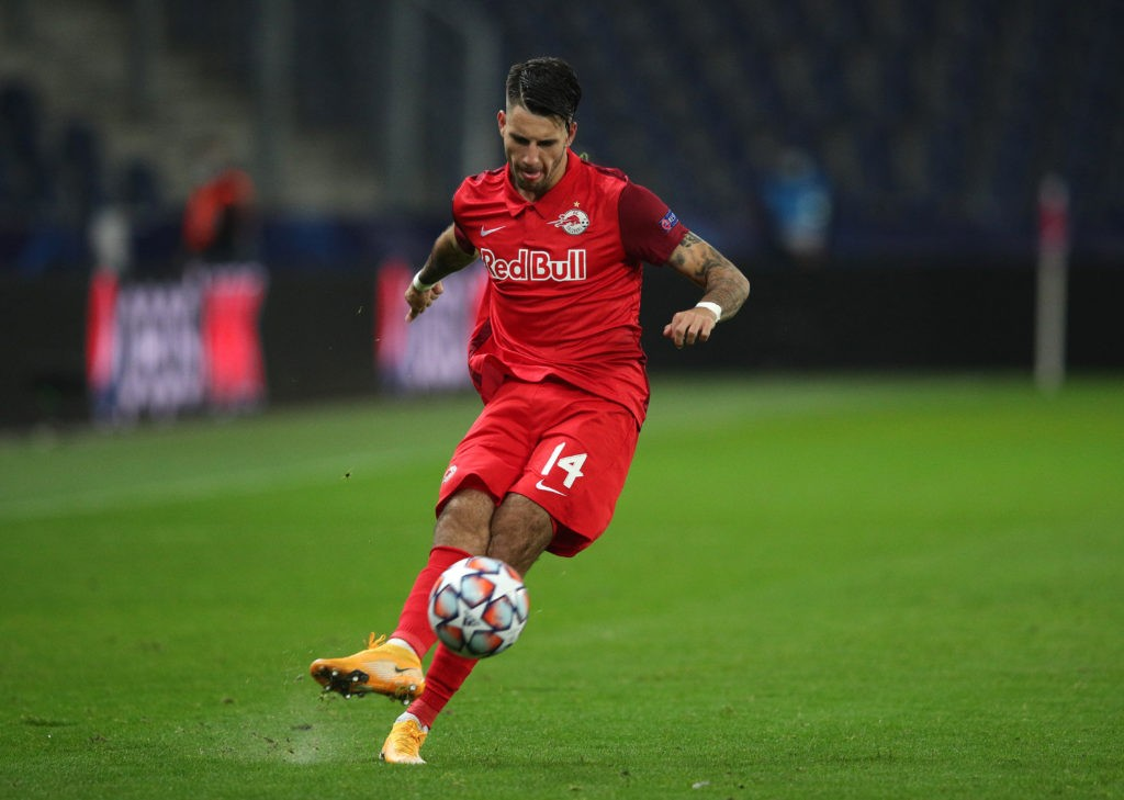 SALZBURG, AUSTRIA: Dominik Szoboszlai of RB Salzburg in action during the UEFA Champions League Group A stage match between RB Salzburg and Lokomotiv Moskva at Red Bull Arena on October 21, 2020. (Photo by Adam Pretty/Getty Images)