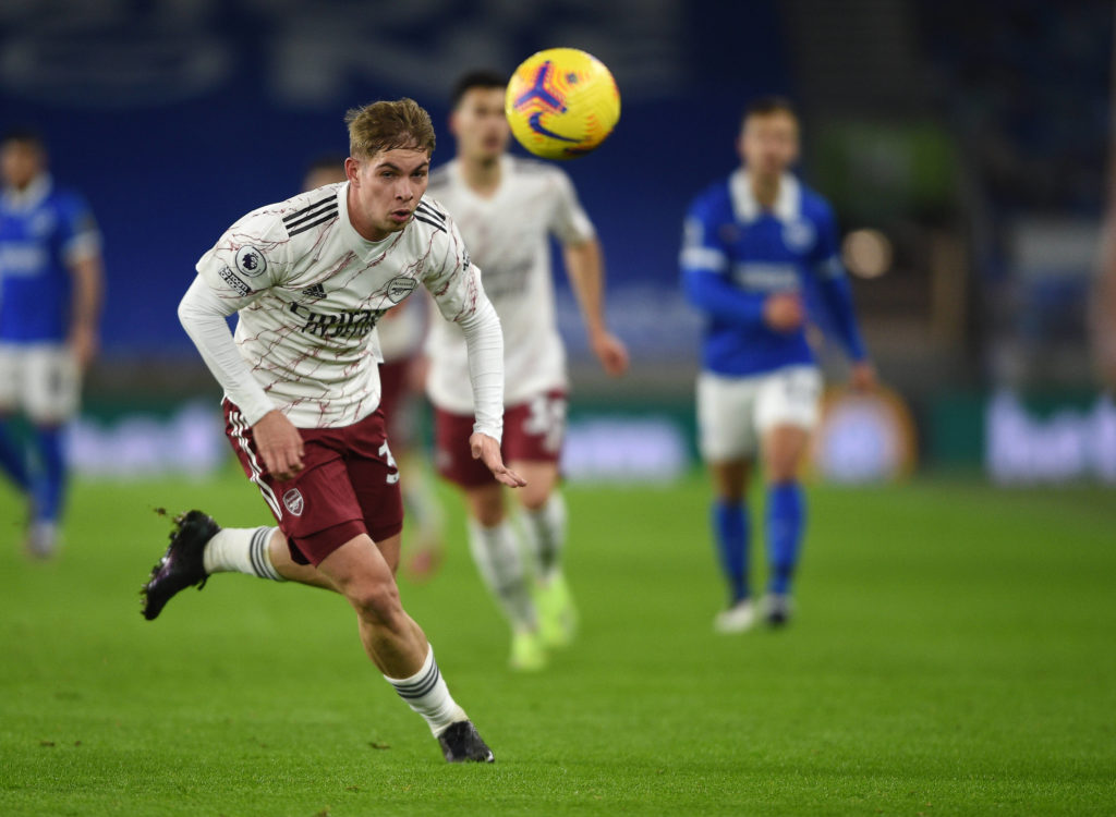 Arsenal's Emile Smith Rowe during the Premier League match at the American Express Community Stadium, Brighton and Hove. Copyright: Daniel Hambury