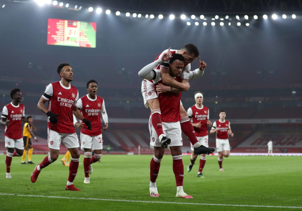 Arsenal v Wolverhampton Wanderers - Premier League - Emirates Stadium Arsenal's Gabriel Magalhaes centre celebrates scoring his side's first goal of the game with team-mates during the Premier League match at the Emirates Stadium, London. Copyright: Catherine Ivill