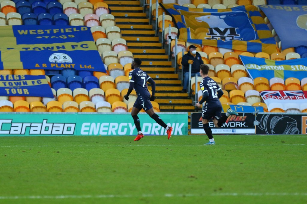 James Olayinka scores during the EFL Sky Bet League 2 match between Mansfield Town and Southend United at the One Call Stadium, Mansfield, England on 19 December 2020. Copyright: Ben Lumley
