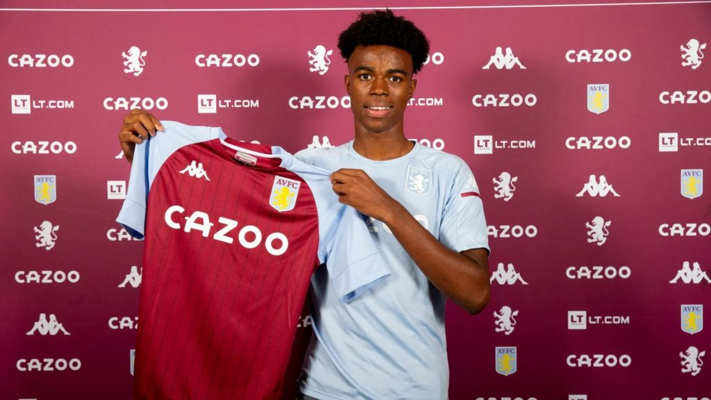 Carney Chukwuemeka after signing his professional contract with Aston Villa (Photo via AVFC.co.uk)