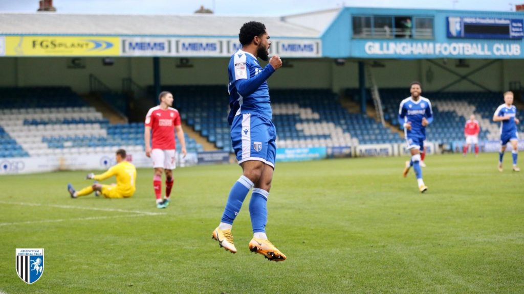 Trae Coyle celebrates scoring for Gillingham (Photo via Gillingham FC on Twitter)
