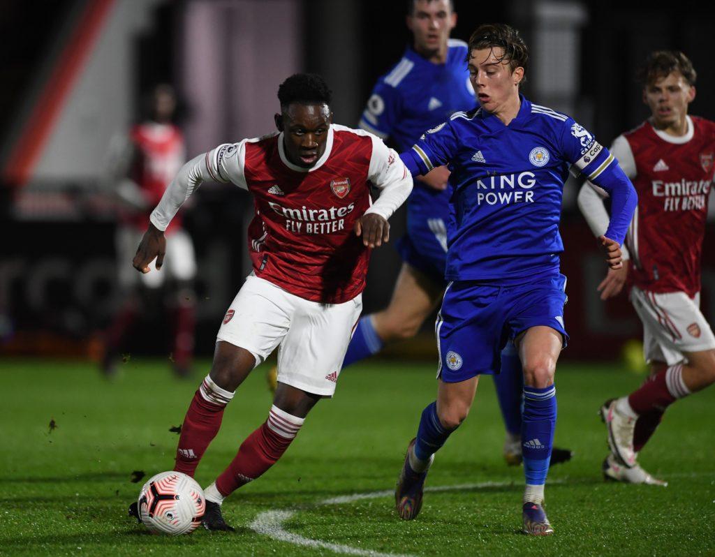 Folarin Balogun faces off against the Leicester City u23s (Photo via Arsenal Academy on Twitter)