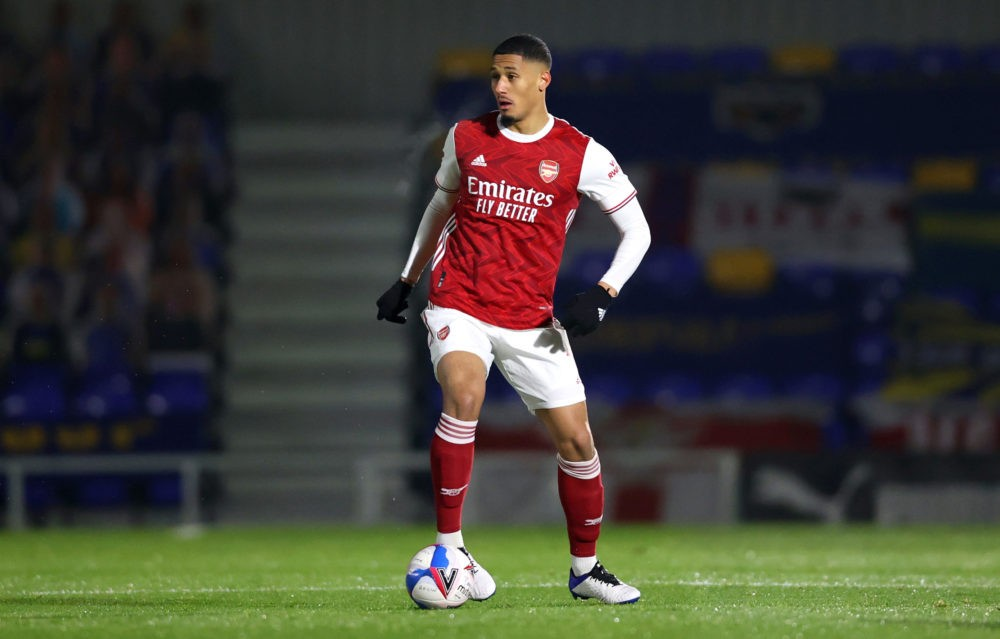 WIMBLEDON, ENGLAND: William Saliba of Arsenal in action during the Papa John's Trophy Second Round match between AFC Wimbledon and Arsenal U21 at Plough Lane on December 08, 2020. (Photo by James Chance/Getty Images)