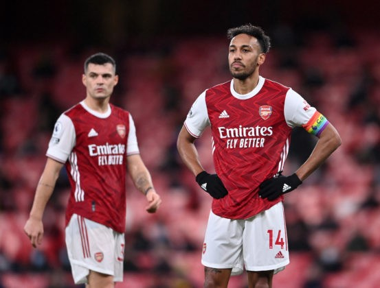 LONDON, ENGLAND - DECEMBER 13: Pierre-Emerick Aubameyang and Granit Xhaka of Arsenal look on during the Premier League match between Arsenal and Burnley at Emirates Stadium on December 13, 2020 in London, England. (Photo by Laurence Griffiths/Getty Images)