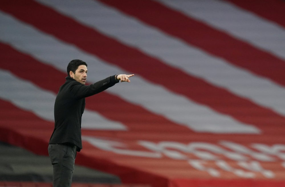 LONDON, ENGLAND - FEBRUARY 21: Mikel Arteta, Manager of Arsenal reacts during the Premier League match between Arsenal and Manchester City at Emirates Stadium on February 21, 2021 in London, England. Sporting stadiums around the UK remain under strict restrictions due to the Coronavirus Pandemic as Government social distancing laws prohibit fans inside venues resulting in games being played behind closed doors. (Photo by John Walton - Pool/Getty Images)