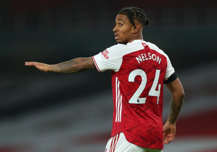 LONDON, ENGLAND - NOVEMBER 29: Reiss Nelson of Arsenal during the Premier League match between Arsenal and Wolverhampton Wanderers at Emirates Stadium on November 29, 2020 in London, England. Sporting stadiums around the UK remain under strict restrictions due to the Coronavirus Pandemic as Government social distancing laws prohibit fans inside venues resulting in games being played behind closed doors. (Photo by Catherine Ivill/Getty Images)