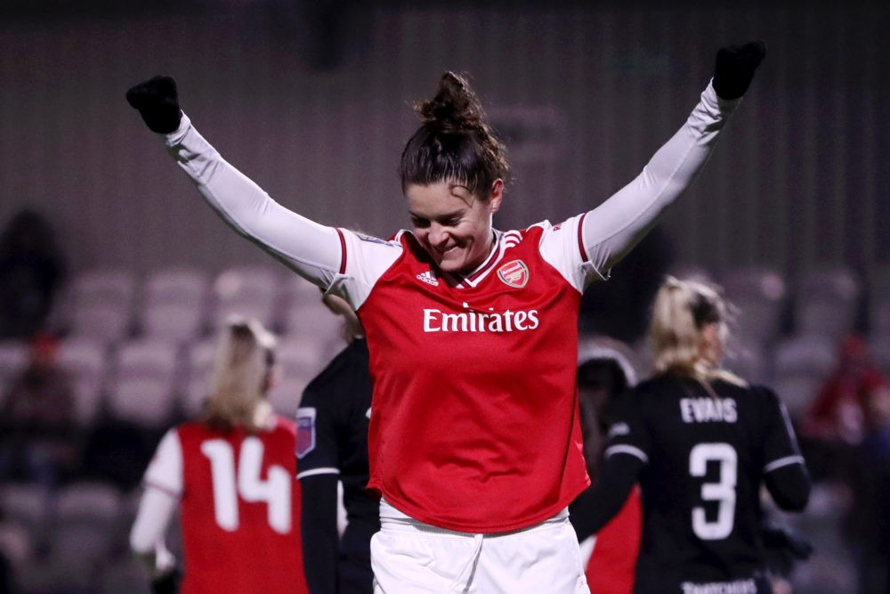 BOREHAMWOOD, ENGLAND - NOVEMBER 21: Jennifer Beattie of Arsenal Women celebrates after her teammate Vivianne Miedema of Arsenal Women (not pictured) scored their team's fourth goal during the FA Women's Continental League Cup game between Arsenal Women and Bristol City Women at Meadow Park on November 21, 2019 in Borehamwood, England. (Photo by Linnea Rheborg/Getty Images)