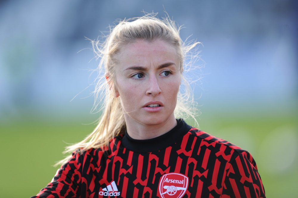 BOREHAMWOOD, ENGLAND - DECEMBER 20: Leah Williamson of Arsenal looks on as she warms up prior to the Barclays FA Women's Super League match between Arsenal Women and Everton Women at Meadow Park on December 20, 2020 in Borehamwood, England. The match will be played without fans, behind closed doors as a Covid-19 precaution. (Photo by Alex Burstow/Getty Images)