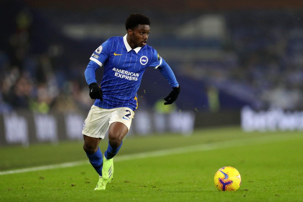 BRIGHTON, ENGLAND: Tariq Lamptey of Brighton and Hove Albion in action during the Premier League match between Brighton & Hove Albion and Southampton at American Express Community Stadium on December 07, 2020 in Brighton, England. (Photo by Naomi Baker/Getty Images)