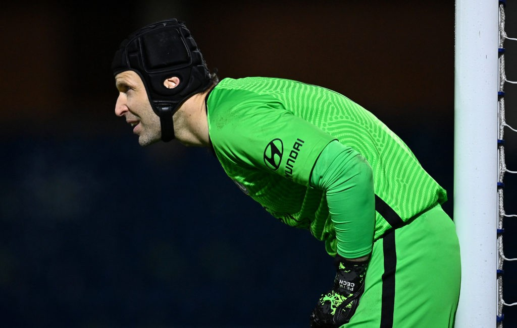 KINGSTON UPON THAMES, ENGLAND: Petr Cech of Chelsea in action during the Premier League 2 match between Chelsea and Tottenham Hotspur at Kingsmeadow on December 14, 2020. (Photo by Justin Setterfield/Getty Images)