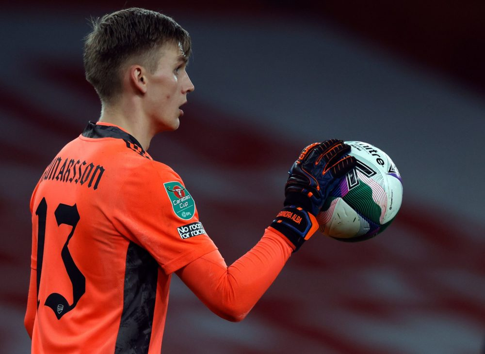 Arsenal's Icelandic goalkeeper Runar Alex Runarsson during the English League Cup quarter final football match between Arsenal and Manchester City at the Emirates Stadium, in London on December 22, 2020. (Photo by Adrian DENNIS / AFP)
