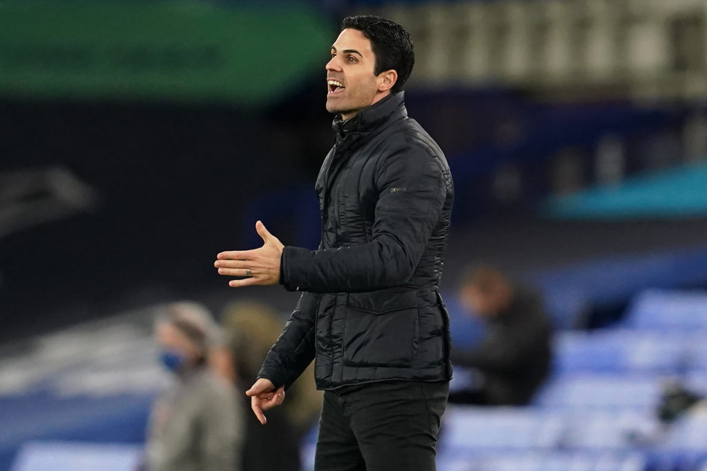Arsenal's Spanish manager Mikel Arteta reacts during the English Premier League football match between Everton and Arsenal at Goodison Park in Liverpool, north west England on December 19, 2020. (Photo by Jon Super / POOL / AFP)