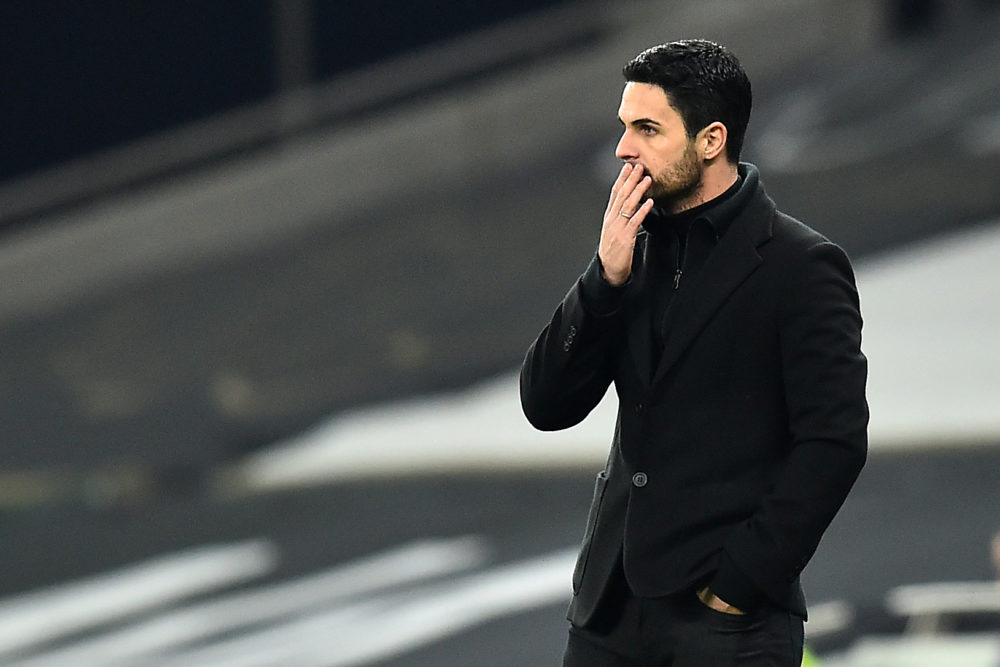 Arsenal's Spanish manager Mikel Arteta reacts during the English Premier League football match between Tottenham Hotspur and Arsenal at Tottenham Hotspur Stadium in London, on December 6, 2020. (Photo by Glyn KIRK / POOL / AFP)