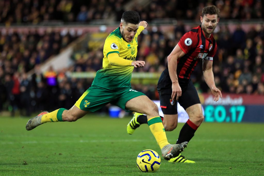 NORWICH, ENGLAND: Emi Buendia of Norwich City shoots during the Premier League match between Norwich City and AFC Bournemouth at Carrow Road on January 18, 2020. (Photo by Stephen Pond/Getty Images)