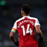 LONDON, ENGLAND - DECEMBER 06: Pierre-Emerick Aubameyang of Arsenal whilst wearing a rainbow coloured captain's armband in support of the Stonewall Rainbow Laces campaign during the Premier League match between Tottenham Hotspur and Arsenal at Tottenham Hotspur Stadium on December 06, 2020 in London, England. A limited number of fans are welcomed back to stadiums to watch elite football across England. This was following easing of restrictions on spectators in tiers one and two areas only. (Photo by Catherine Ivill/Getty Images)
