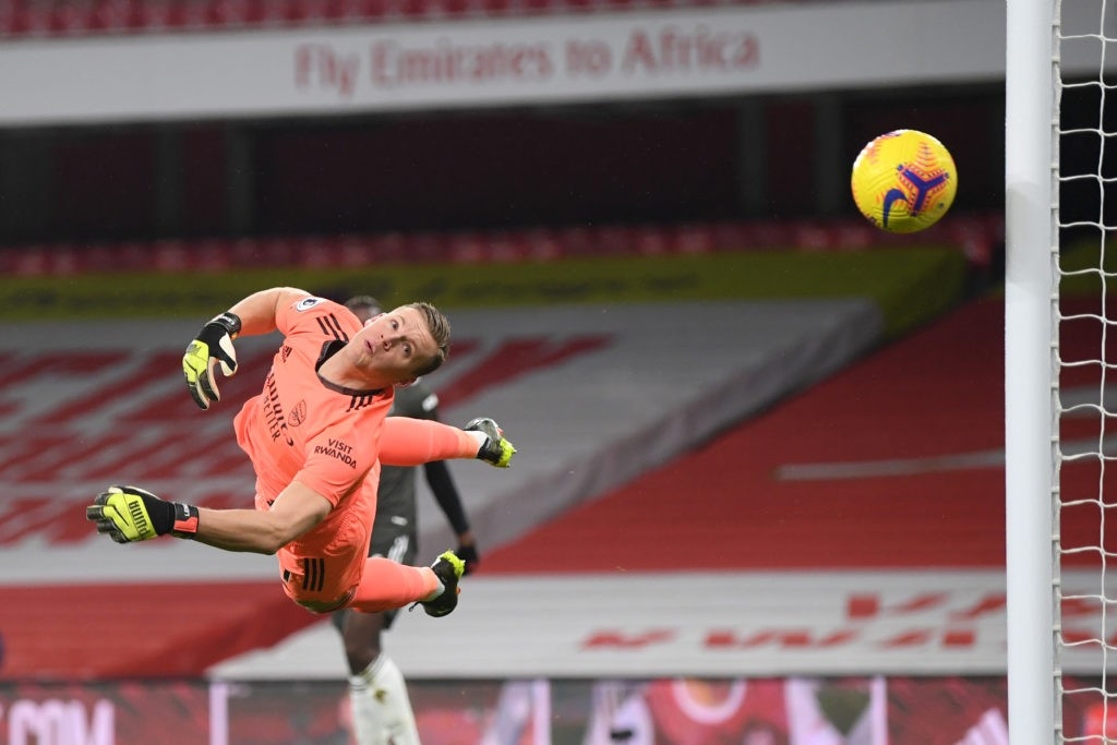 LONDON, ENGLAND: Bernd Leno of Arsenal looks on after he makes a save during the Premier League match between Arsenal and Manchester United at Emirates Stadium on January 30, 2021. (Photo by Shaun Botterill/Getty Images)