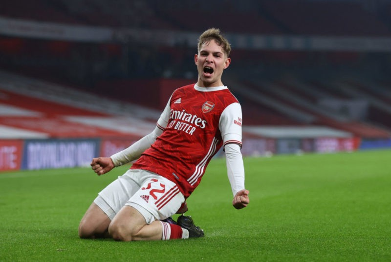 LONDON, ENGLAND - JANUARY 09: Emile Smith Rowe of Arsenal celebrates after scoring their sides first goal during the FA Cup Third Round match between Arsenal and Newcastle United at Emirates Stadium on January 09, 2021 in London, England. The match will be played without fans, behind closed doors as a Covid-19 precaution. (Photo by Julian Finney/Getty Images)