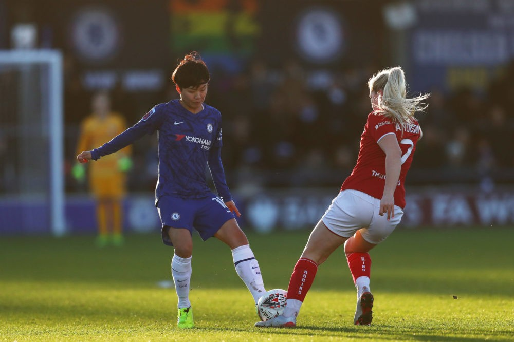 KINGSTON UPON THAMES, ENGLAND - JANUARY 12: So-Yun Ji of Chelsea battles for the ball with Poppy Pattinson of Bristol City the ball during the Barclays FA Women's Super League match between Chelsea and Bristol City at Kingsmeadow on January 12, 2020 in Kingston upon Thames, United Kingdom. (Photo by Dan Istitene/Getty Images)