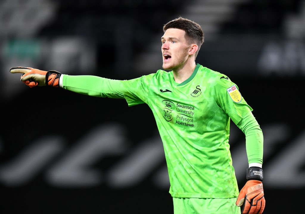 DERBY, ENGLAND: Freddie Woodman of Swansea City during the Sky Bet Championship match between Derby County and Swansea City at Pride Park Stadium on December 16, 2020. (Photo by Tony Marshall/Getty Images)
