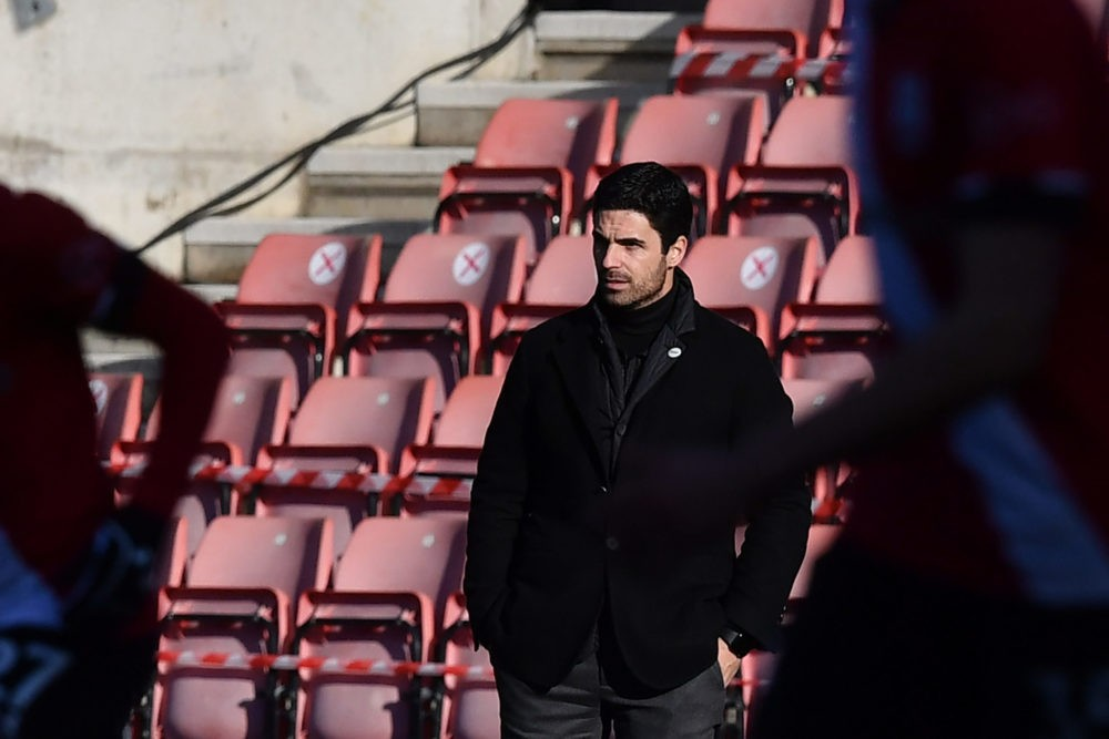 Arsenal's Spanish manager Mikel Arteta looks on during the English FA Cup fourth round football match between Southampton and Arsenal at St Mary's Stadium in Southampton, Hampshire,on January 23, 2021. (Photo by Ben STANSALL / AFP)