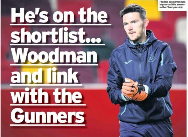 Arsenal wanted Freddie Woodman in January, South Wales Post