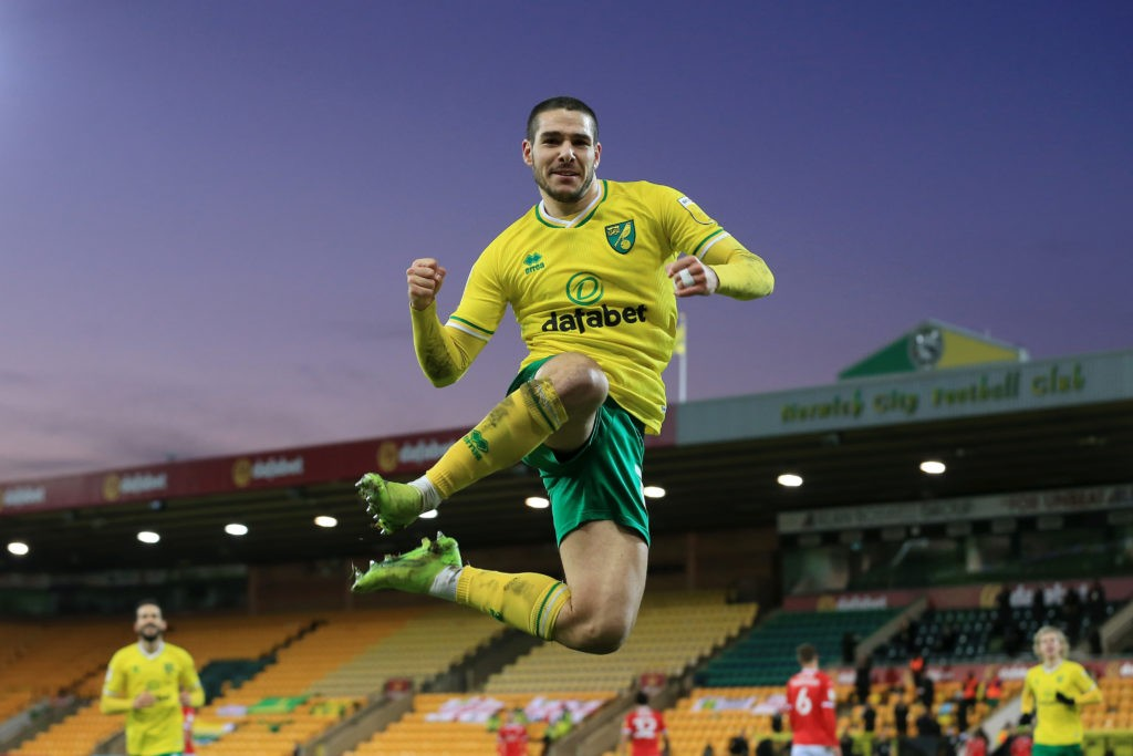 NORWICH, ENGLAND: Emi Buendia of Norwich City celebrates after scoring their team's first goal during the Sky Bet Championship match between Norwich City and Barnsley at Carrow Road on January 02, 2021. (Photo by Stephen Pond/Getty Images)